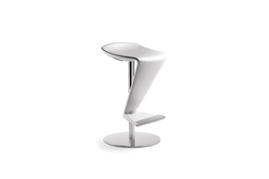 Infiniti Zed Bar Stool with Chromium-plated Steel Base and White Polyurethane Backrest