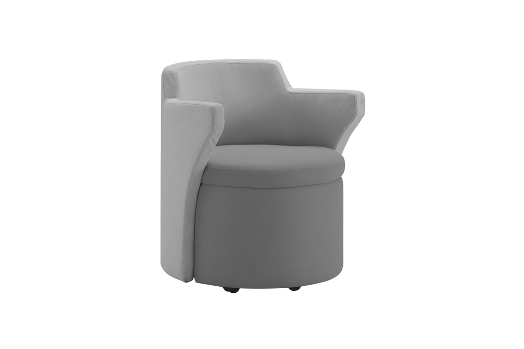 Kissara 1-Seater Lounge Chair with Grey Seat and Casters