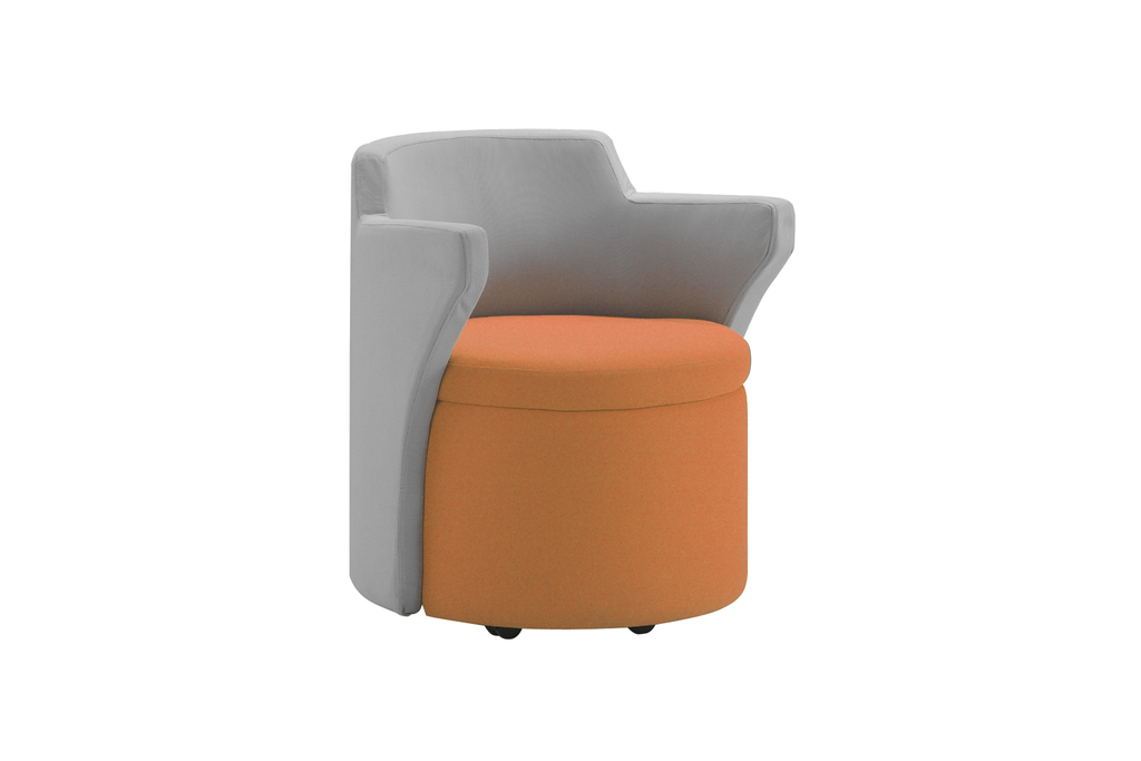 Kissara 1-Seater Lounge Chair with Orange Seat and Casters