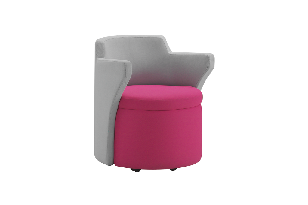 Kissara 1-Seater Lounge Chair with Pink Seat and Casters