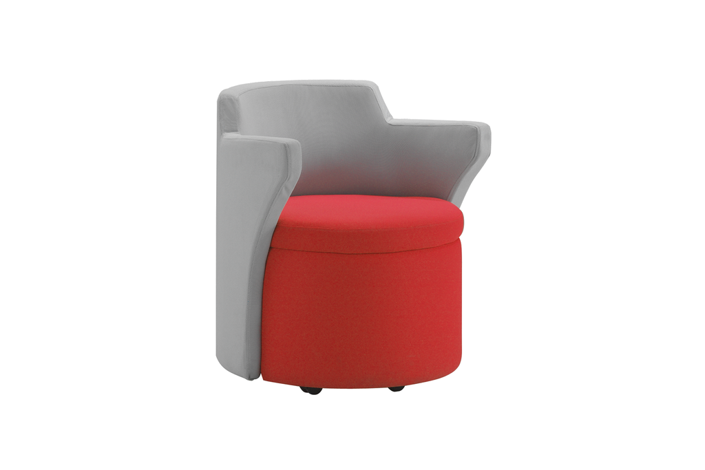 Kissara 1-Seater Lounge Chair with Red Seat and Casters