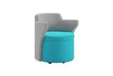 Kissara 1-Seater Lounge Chair with Turquoise Seat and Casters