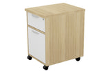 Mobile Pedestal Door In with One Drawer and One Filing Drawer with Handle and England Oak Furnishing