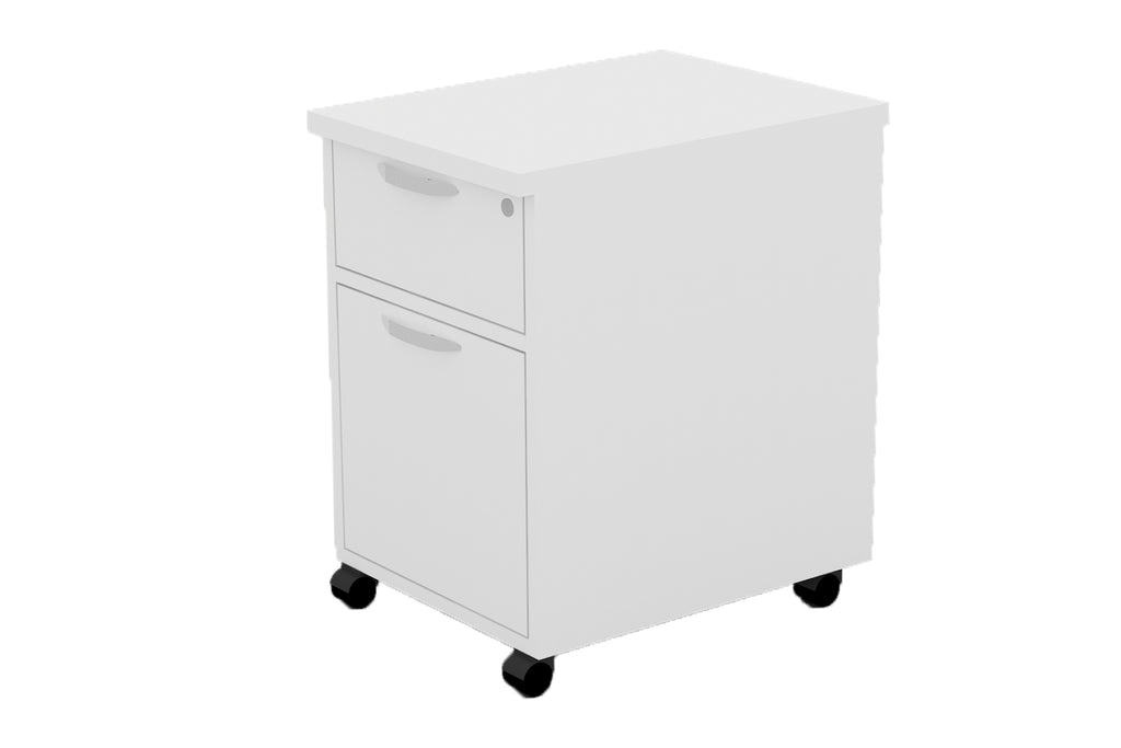 Mobile Pedestal Door In with One Drawer and One Filing Drawer with Handle and White Furnishing