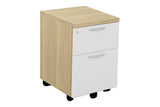 Mobile Pedestal with One Drawer and One Filing Drawer with Handle and England Oak Furnishing
