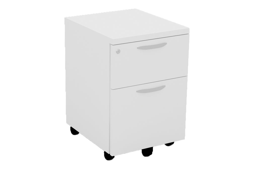 Mobile Pedestal with One Drawer and One Filing Drawer with Handle and White Furnishing