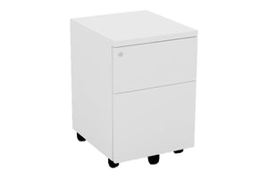 Mobile Pedestal with One Drawer and One Filing Drawer and White Furnishing