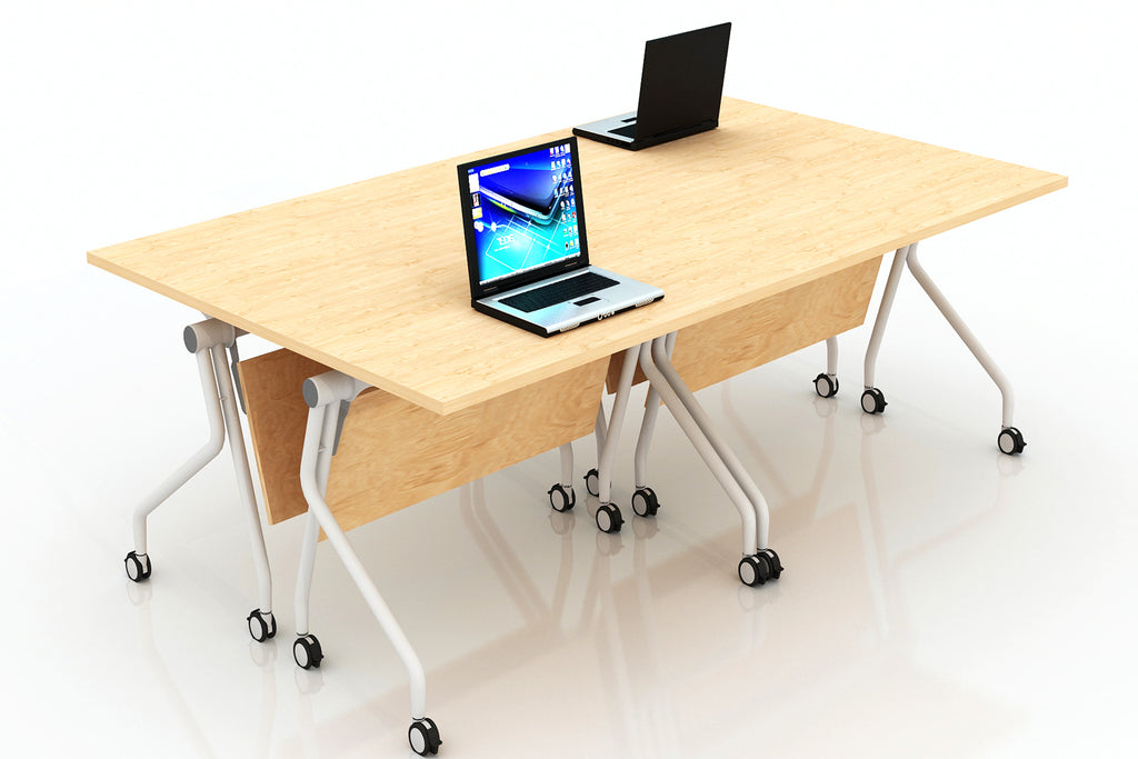 P3 Foldable Training Table with England Oak Table Top in Hotdesking Setup
