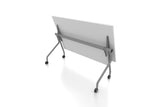 P3 Foldable Training Table with White Table Top Folded Rear Angled View