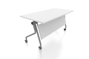 P3 Foldable Training Table with White Table Top Front Angled View