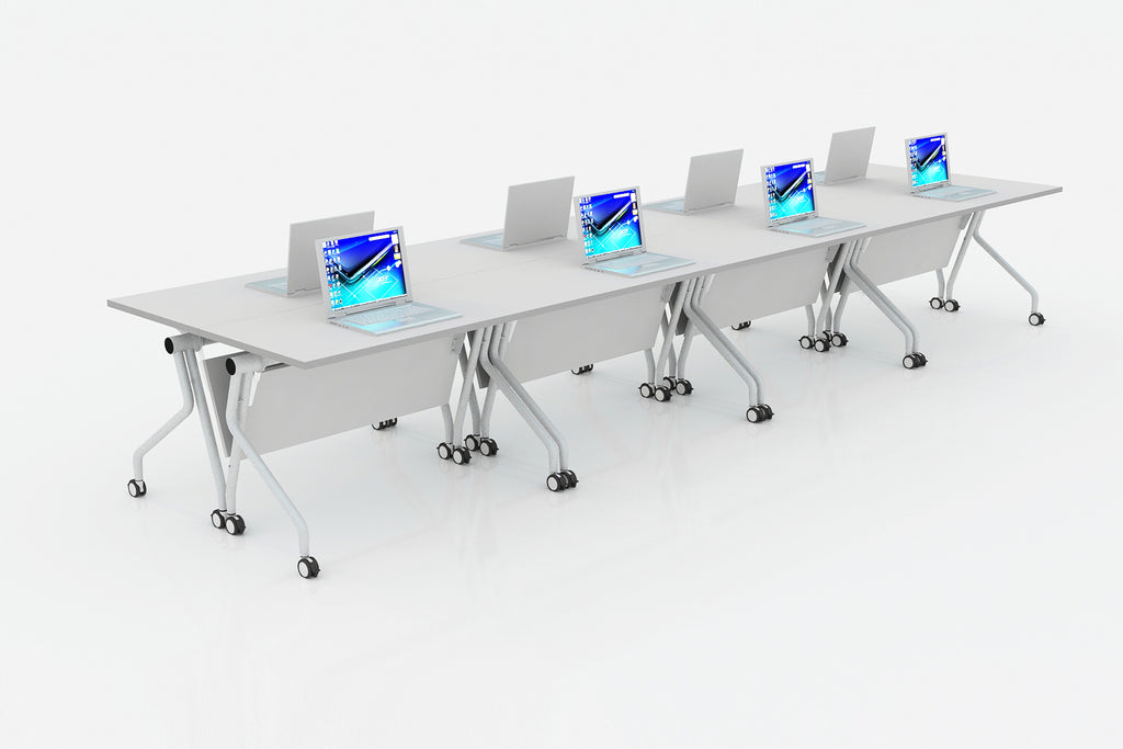 P3 Foldable Training Table with White Table Top in Hotdesking Setup