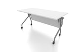 P3 Foldable Training Table with White Table Top Rear Angled View