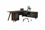 PX9 Office Workstation Executive Table Desk with Side Credenza Back Angled View
