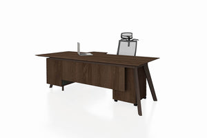PX9 Office Workstation Executive Table Desk with Side Credenza Front Angled View