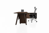 PX9 Office Workstation Executive Table Desk with Side Credenza Side View