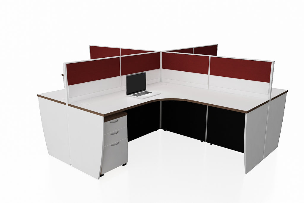 Partition Cubicle Office Workstation Desk System Universal Cluster of 4 with Full Fabric Divider and Mobile Pedestal with Radiwood Finishing