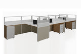 Partition Cubicle Office Workstation Desk System Cluster of 5 with Half Glass Divider and Mobile Pedestal with England Oak Finishing