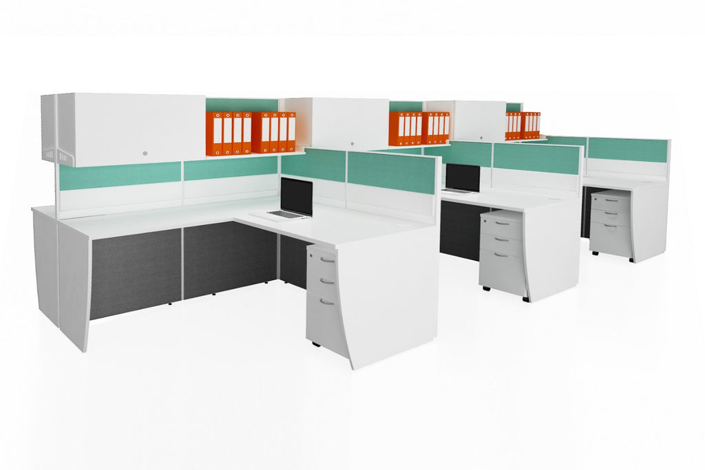 Partition Cubicle Office Workstation Desk System Cluster of 6 with Full Fabric Divider and Hanging Cabinet and Open Shelf and Mobile Pedestal with White Finishing