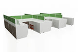 Partition Cubicle Office Workstation Desk System Cluster of 6 with Full Fabric Divider and Side Return Cabinet with White Finishing