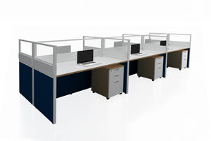 Partition Cubicle Office Workstation Desk System Cluster of 6 with Half Glass Divider and Mobile Pedestal with England Oak Finishing