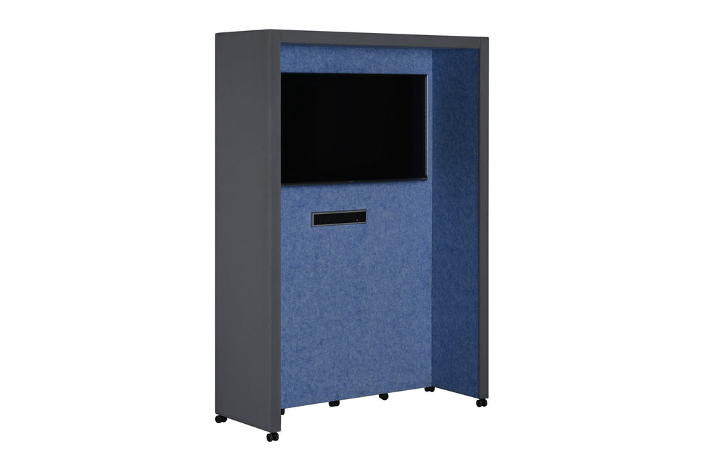 Privva Office Collaborative Discussion Pods With Blue and Grey Acoustic Panel