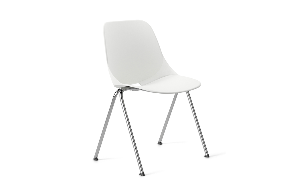 Quick Office Pantry Chair in White Front Angled View