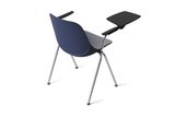 Quick Stackable Office Training Chair in Blue with Armrest and Tablet with Gliders Back Angled View