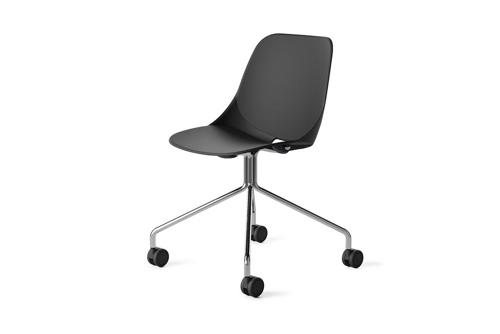 Quick Office Training Chair in Black with Four-legged Base and Caster Wheels