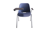 Quick Stackable Office Training Chair in Blue with Armrest and Tablet with Gliders Front View