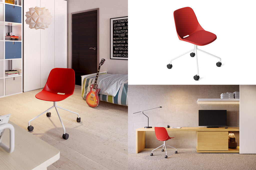 Quick Office Training Chair in Red with Four-legged Base and Caster Wheels