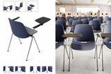 Quick Stackable Office Training Chair in Blue with Armrest and Tablet in Seminar Setup