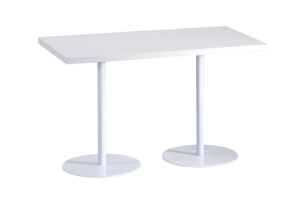 Privva Rectangular Discussion Table with White Table Top and White Base