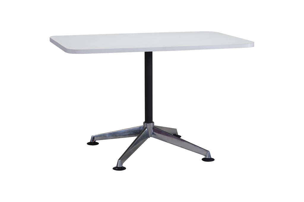 Privva Rectangular Discussion Table with White Table Top and Chrome Base