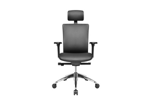 Suffo Office Executive Chair with Leather and Aluminium Base Front View