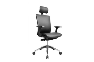 Suffo Office Executive Chair with Leather and Aluminium Base Right Angled View