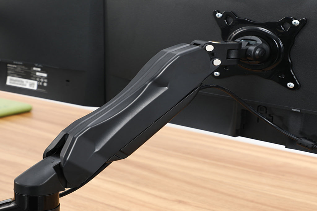Dual Monitor Arms (Black) with Gas Spring
