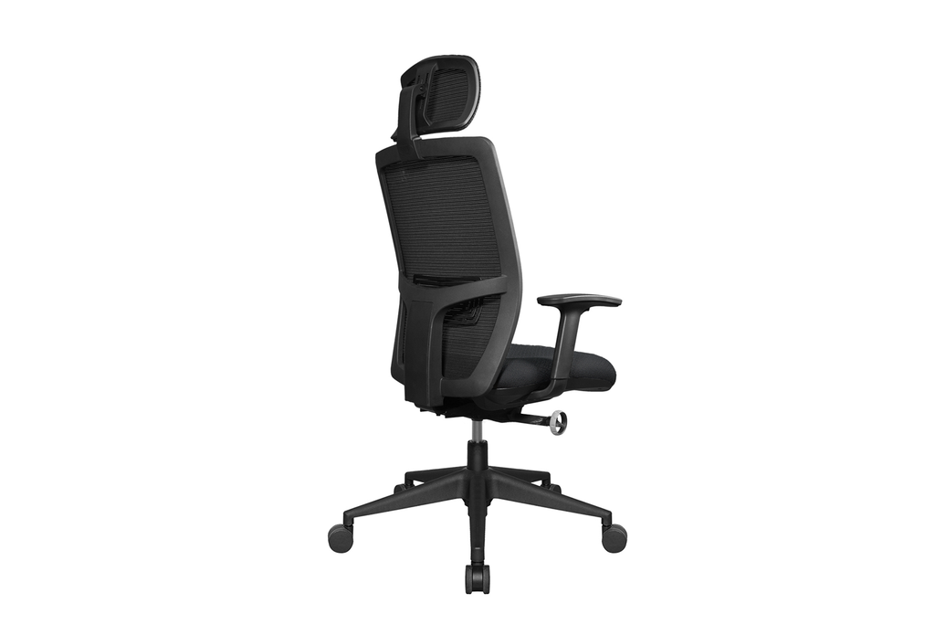 Teddy Office Task Chair with Black Seat and Nylon Base Back Angled View