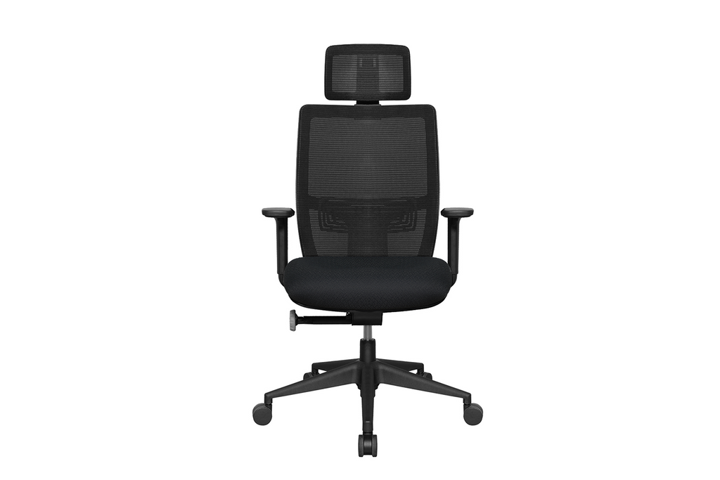 Teddy Office Task Chair with Black Seat and Nylon Base Front View