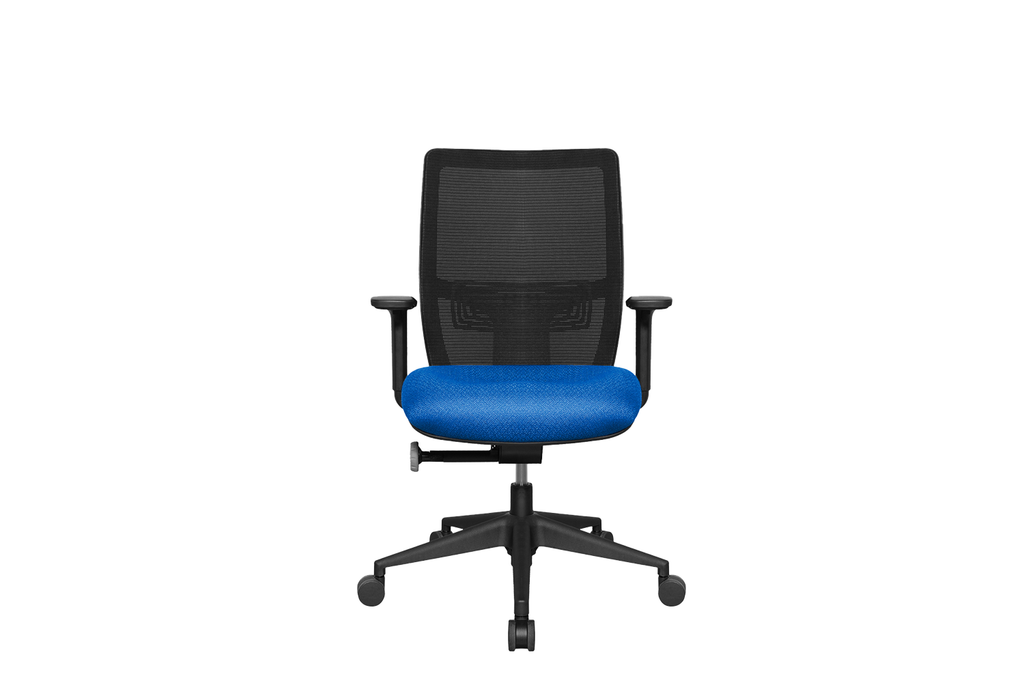 Midback Teddy Office Task Chair with Blue Seat and Nylon Base Front View