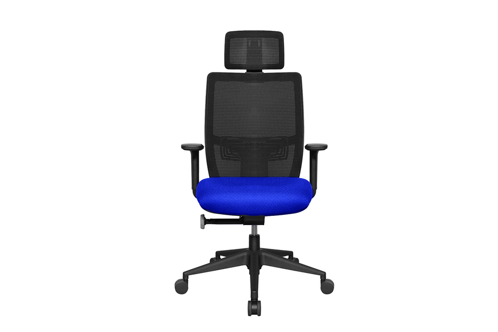 Teddy Office Task Chair with Blue Seat and Nylon Base Front View