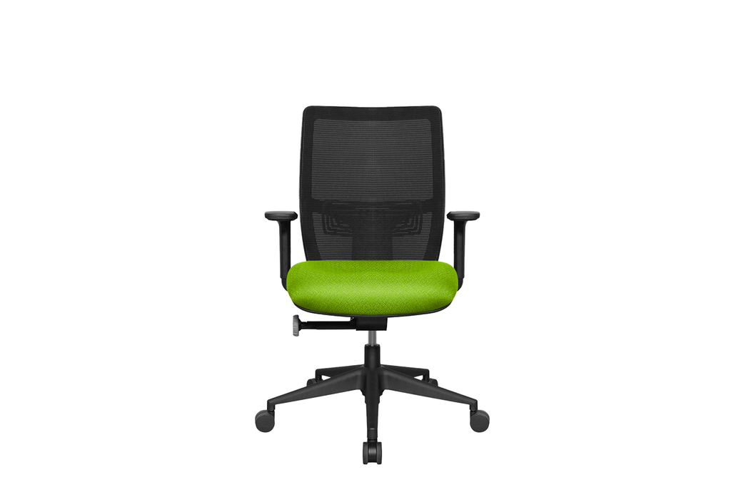 Midback Teddy Office Task Chair with Green Seat and Nylon Base Front View