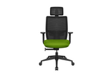Teddy Office Task Chair with Green Seat and Nylon Base Front View