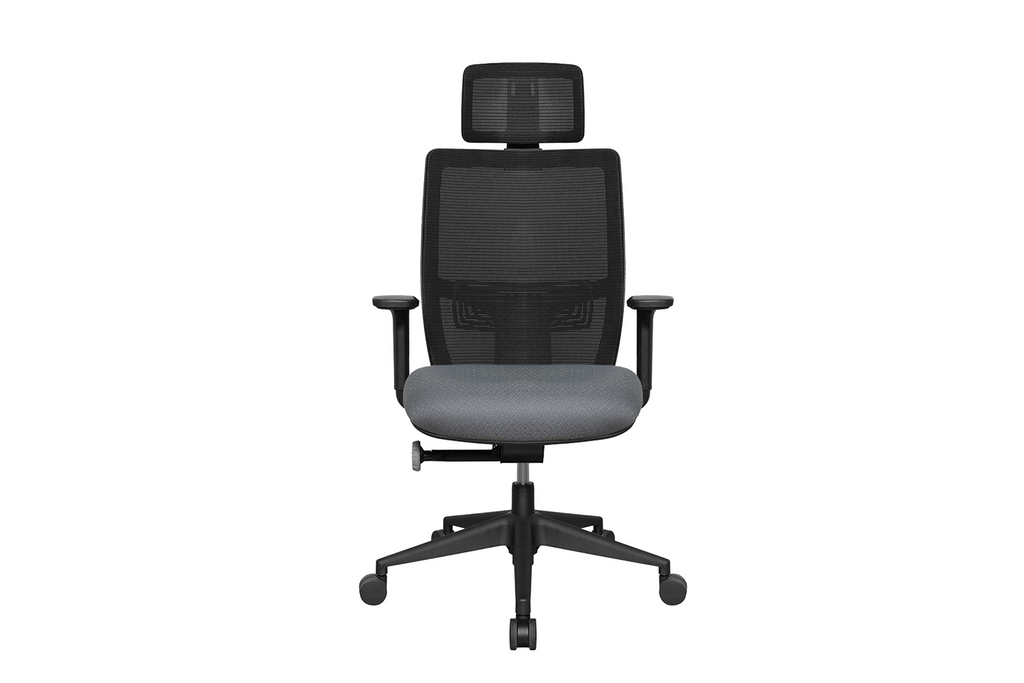 Teddy Office Task Chair with Grey Seat and Nylon Base Front View