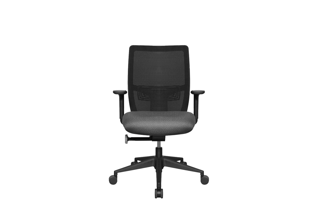 Midback Teddy Office Task Chair with Grey Seat and Nylon Base Front View