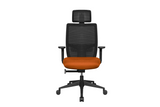 Teddy Office Task Chair with Orange Seat and Nylon Base Front View