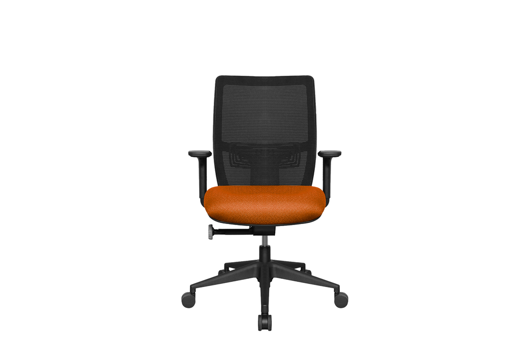 Midback Teddy Office Task Chair with Orange Seat and Nylon Base Front View