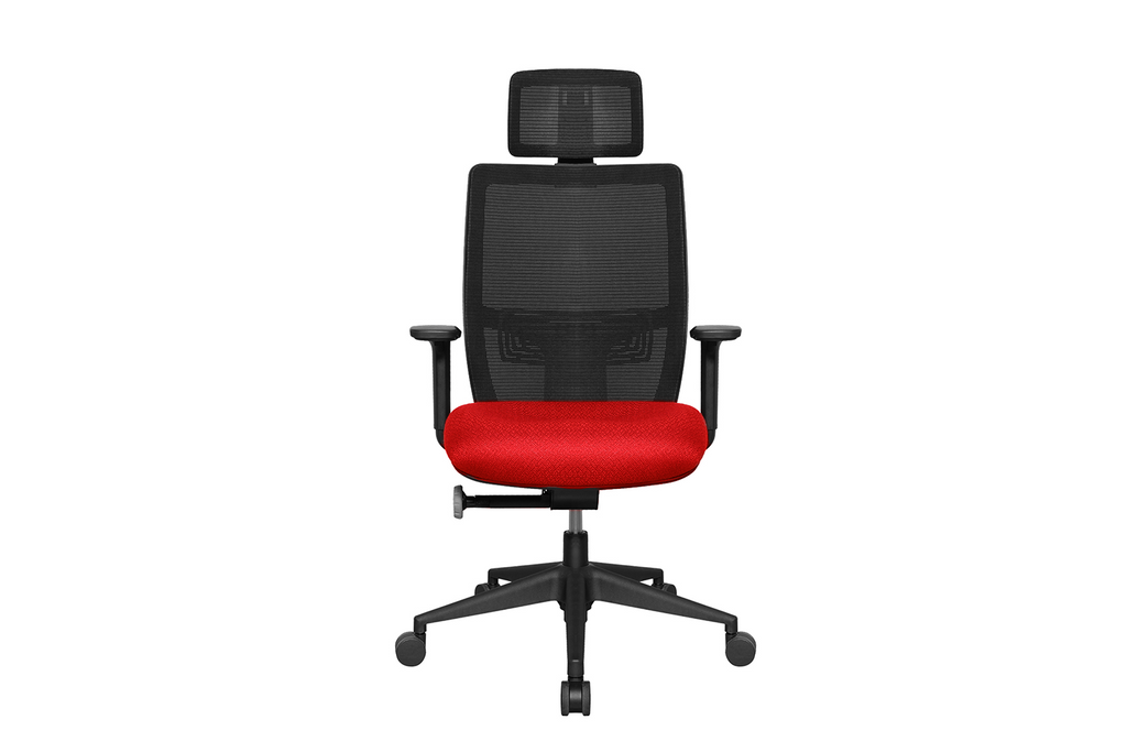 Teddy Office Task Chair with Red Seat and Nylon Base Front View