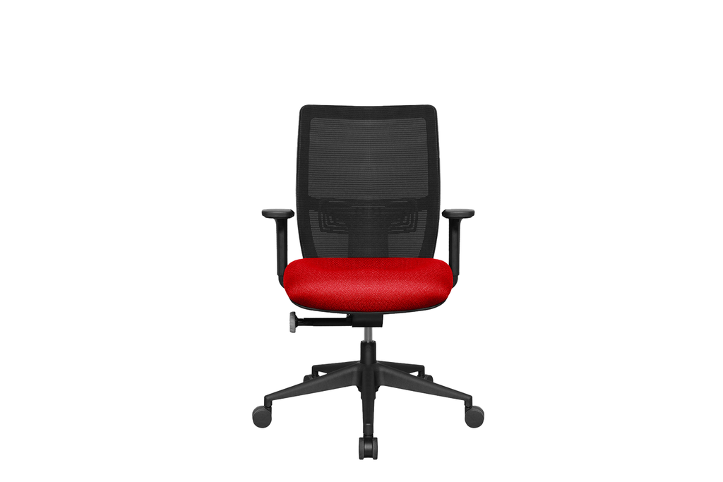 Midback Teddy Office Task Chair with Red Seat and Nylon Base Front View