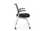 Trek Folding and Nestable Office Training Chair with Polymer Back Fabric Seat with Armrest and Casters Wheels Right  View