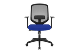 UNO Office Task Chair with Blue Seat and Nylon Base Front View